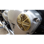 Motone ACG Badge/Points Cover.  Thruxton, Street Twin, Bobber, Bonneville: Union Flag Brass.